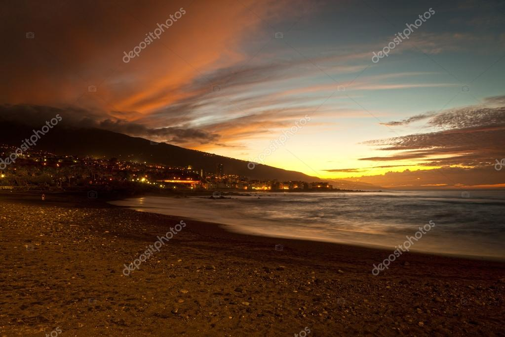 Sunset in Playa Jardin, Puerto de la Cruz, Tenerife, Spain