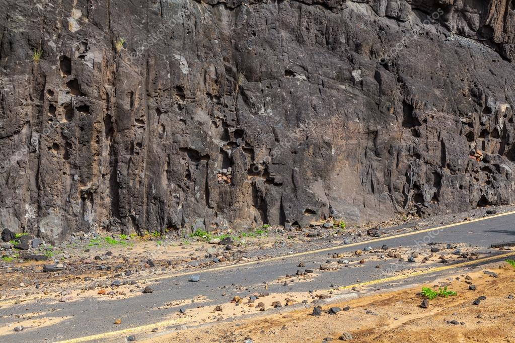 Landslide in a Dangerous Road