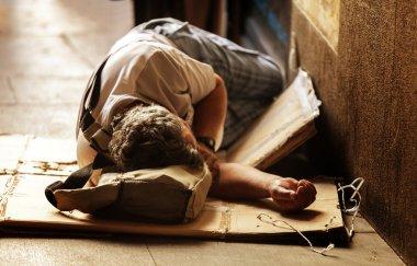 Unrecognizable Homeless Sleeping
