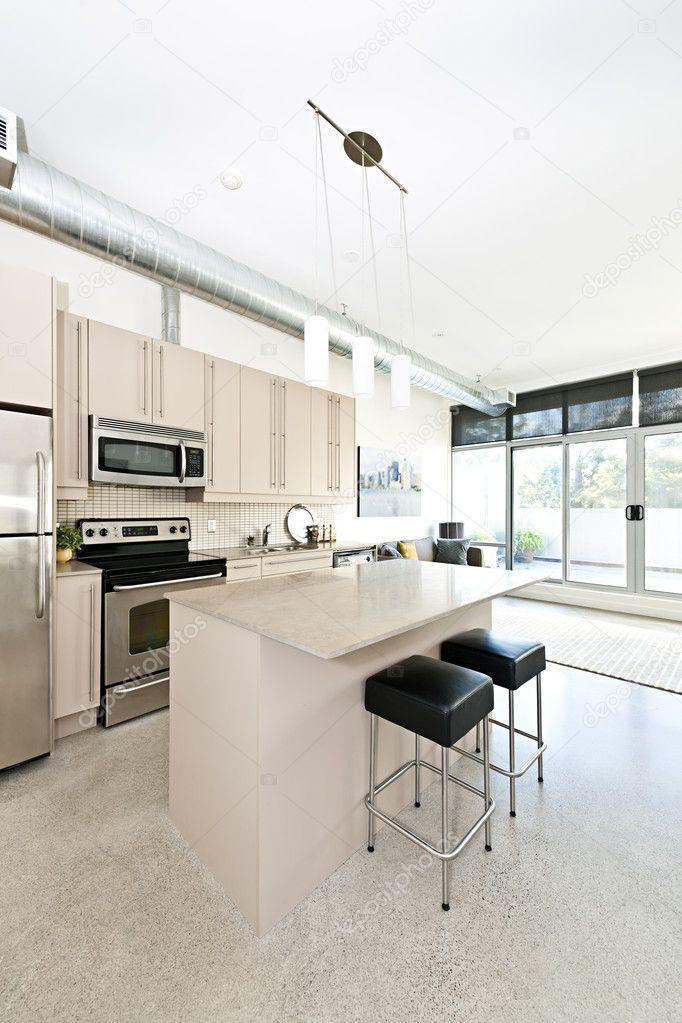 Lovely Moderne Eigentumswohnung Küche Und Wohnzimmer U2014 Stockfoto