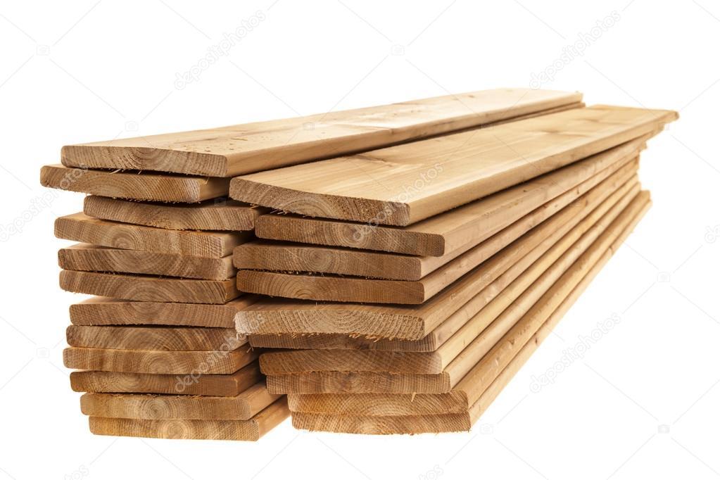 tavole di legno di cedro ammucchiati — Foto Stock © elenathewise ...