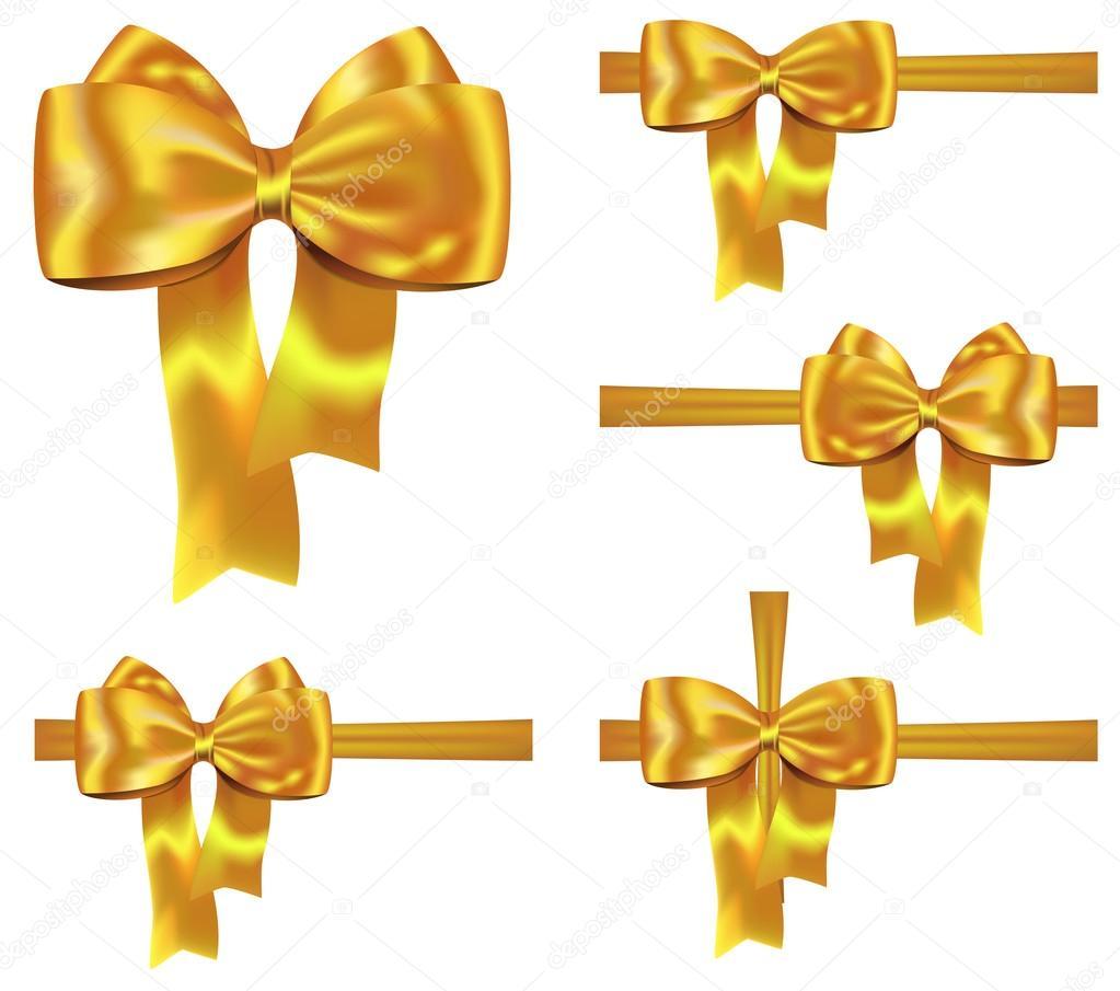 Golden ribbon set stock vector gorgrigo 14389275 set of golden gift ribbons with nice bows for festive decorations vector illustration vector by gorgrigo negle Gallery
