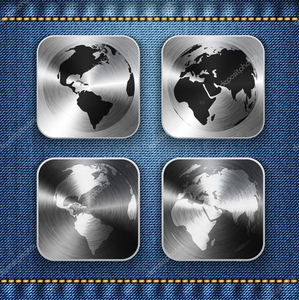 Globe and world map on brushed metal app icons stock vector globe and world map on brushed metal app icons stock vector gumiabroncs Gallery