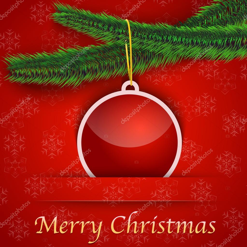 Urlaub-Geschenkkarte mit Weihnachtsbaum und eine Spielerei-hängende ...