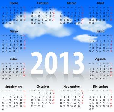 Spanish Calendar 2013 CLOUDS SKY