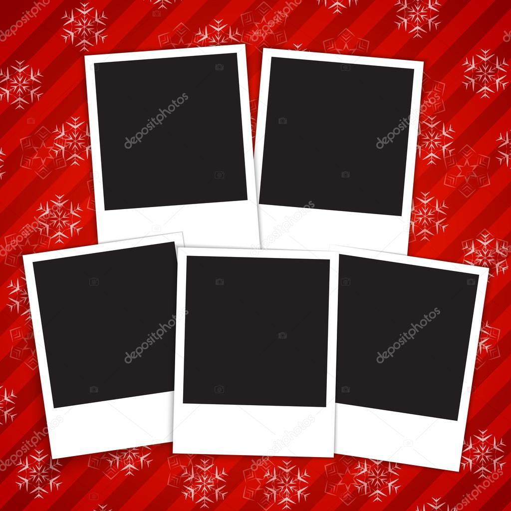 Winter Holidays Card With Blank Photo Frames Stock Vector