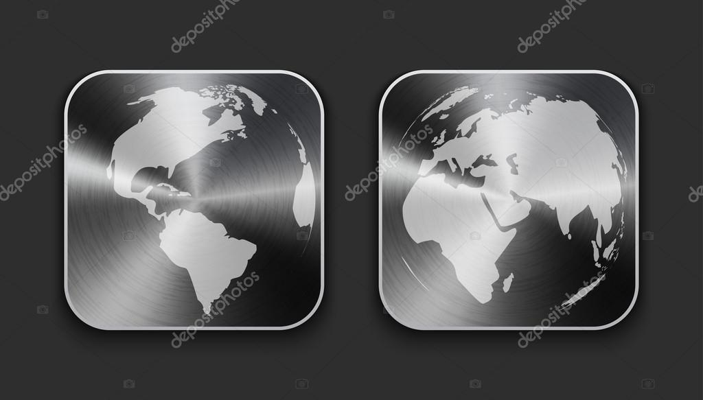 Globe and world map on brushed metal app icons stock vector globe and world map on brushed metal app icons stock vector gumiabroncs Images