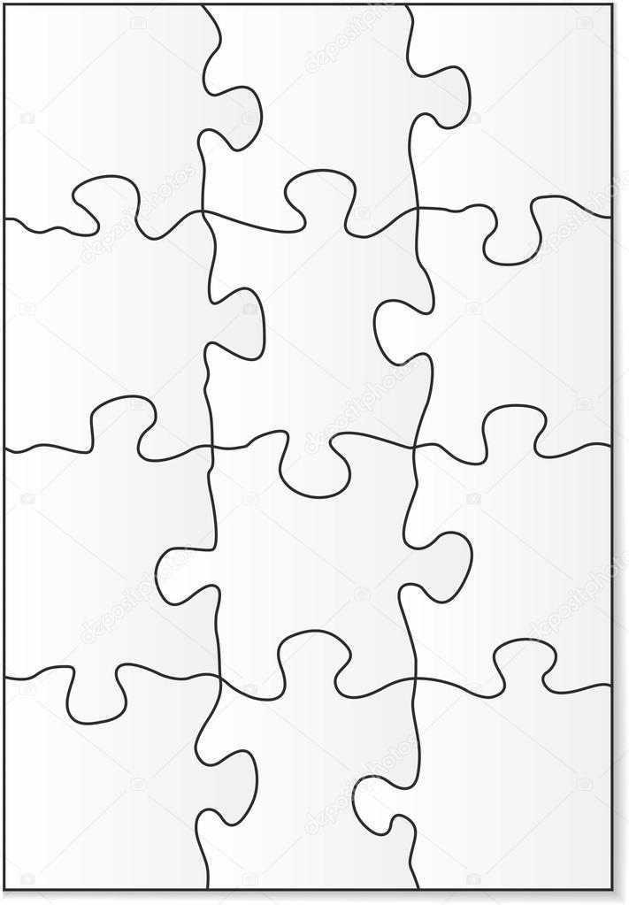 12 piece puzzle template stock vector gorgrigo 40856043
