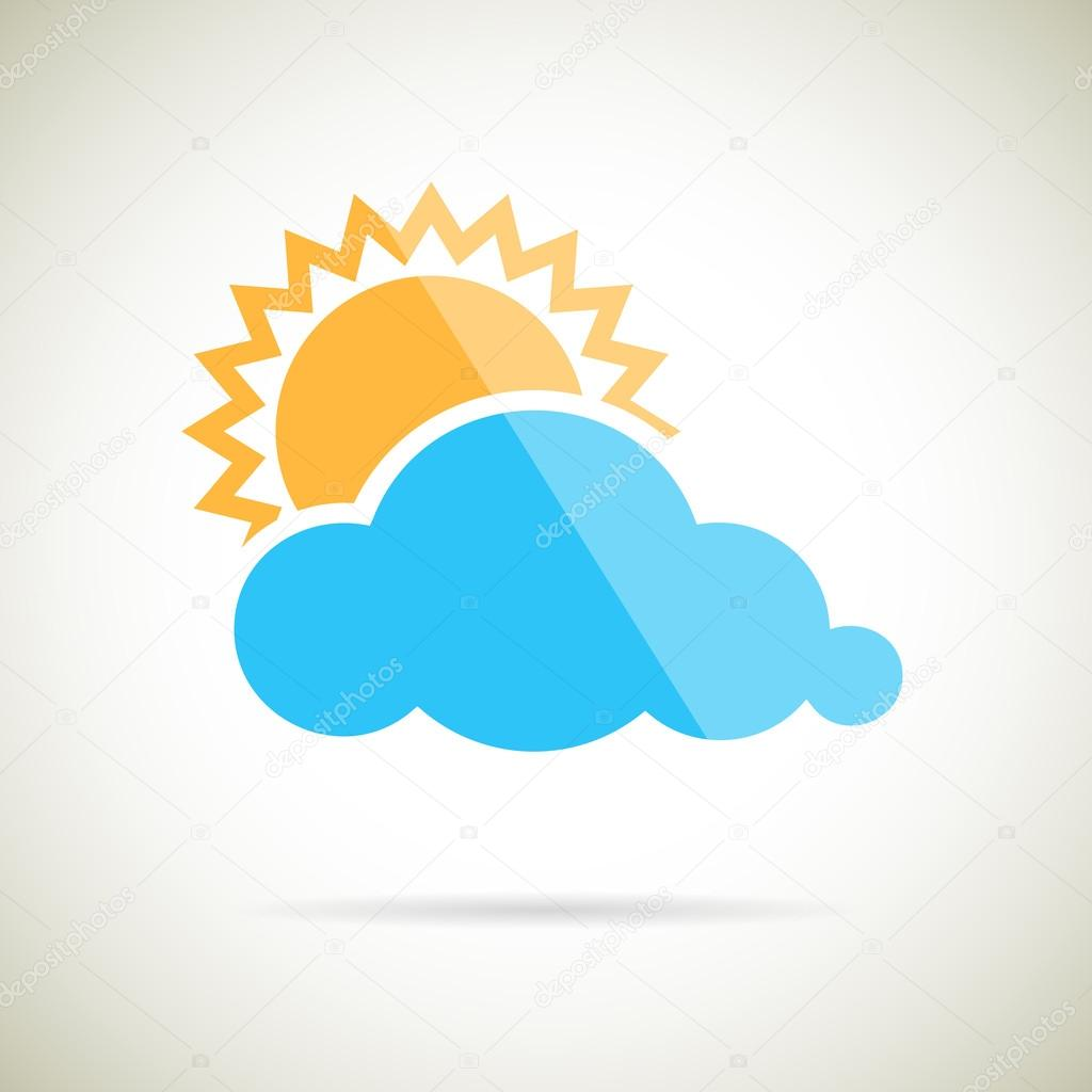 Sun and Cloud Symbol Flat design