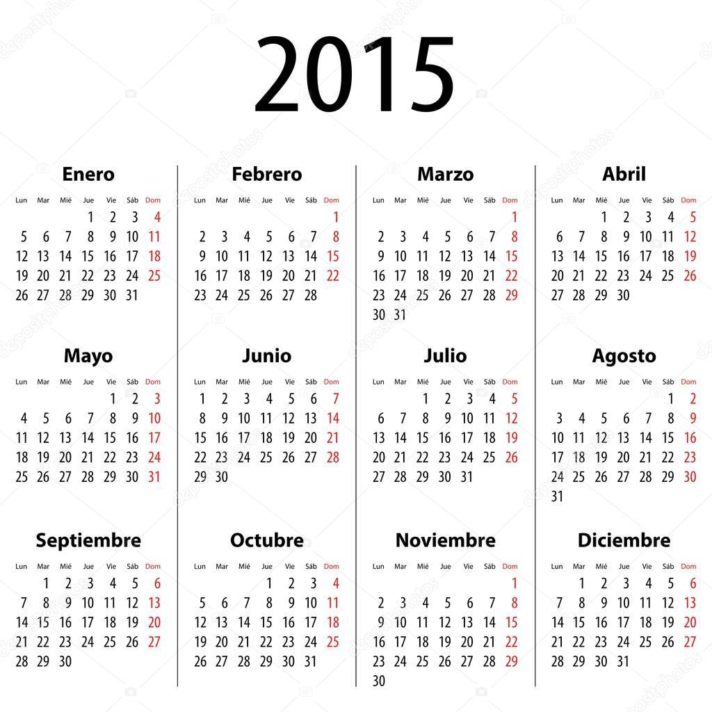 Elegante calendario del a o 2015 sobre fondo de paisaje for Calendario 2015 ministerio del interior