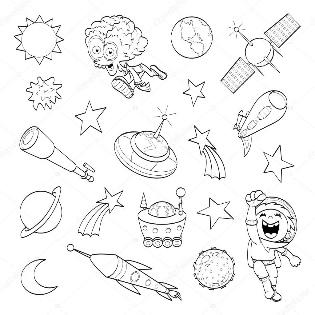 Satellite coloring page | Cartoon outer space set ...