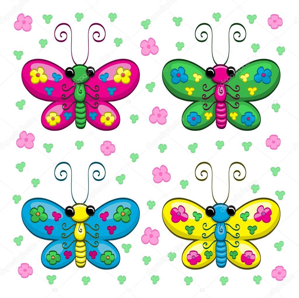 cute cartoon butterflies and flowers u2014 stock vector bastetamon