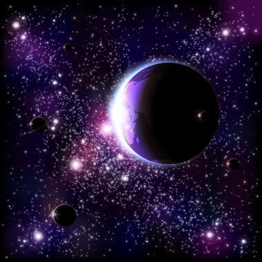 An outer space background with planets, sky and stars. Layered. stock vector