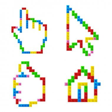 Set of icons from plastic toy blocks