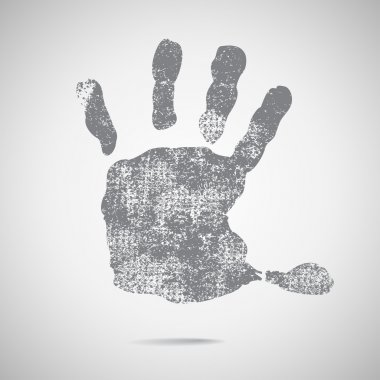 Grey hand Print icon on white background.
