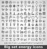Energia- és erőforrás-ikon készlet