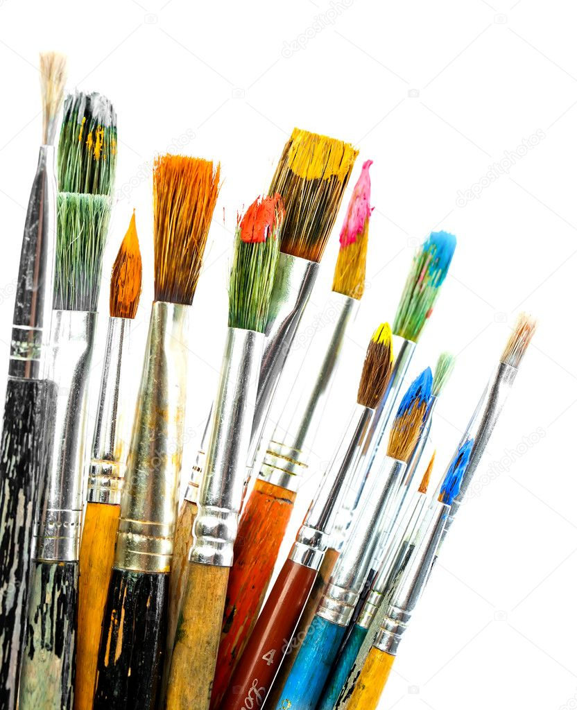 Paint Brushes Isolated On White Stock Photo Vizafoto