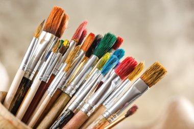 """Картина, постер, плакат, фотообои """"краски и кисти картина все"""", артикул 44372423"""