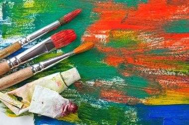 "Картина, постер, плакат, фотообои ""краски и кисти картина цветы"", артикул 50240571"