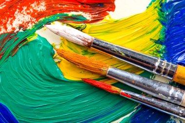 "Картина, постер, плакат, фотообои ""краски и кисти картина пейзаж художники все"", артикул 50241047"