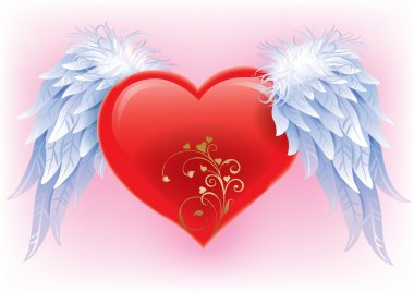 Heart with wings. Illustration contains transparent object. EPS 10. clip art vector
