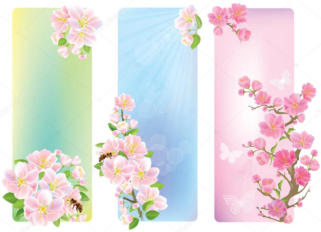 Vertical banners with a blossoming branch
