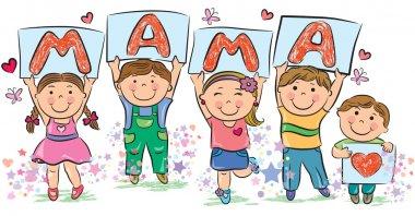 Kids write the word mama