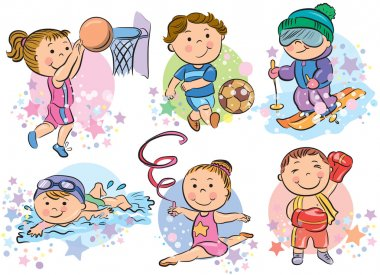 Sports kids. Contains transparent objects. EPS10 stock vector