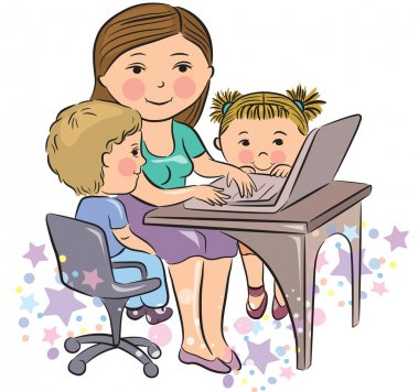 Busy mother works with kids