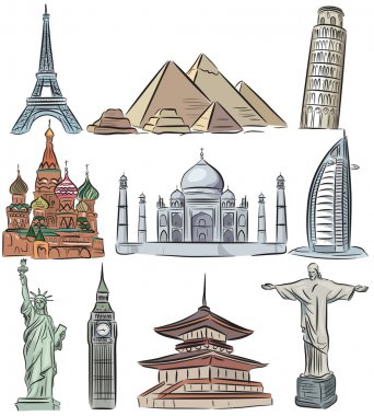 Architectural wonders of the world vector collection