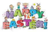 Fotografie happy Easter-Kinder auf Buchstaben