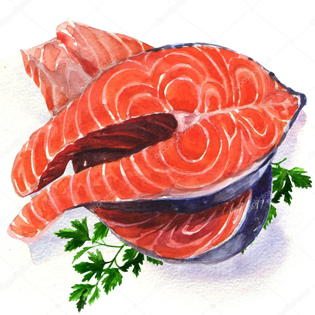 Salmon steak red fish — Stock Photo © deslns #51140169