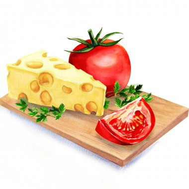 cheese with tomatoes on wooden board