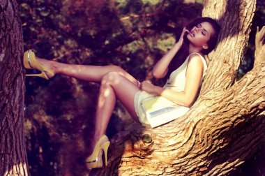 fashion. woman on tree