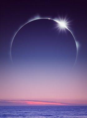 Full Eclipse over ocean (digital art)