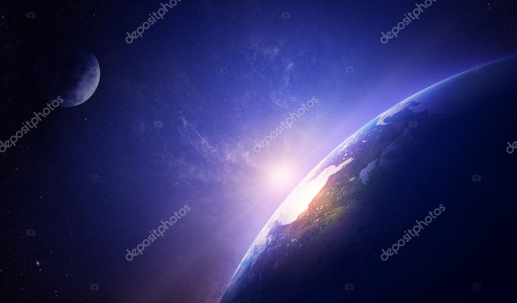 Earth sunrise in foggy space over North America