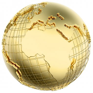 Earth in Gold Metal isolated with Africa and Europe)