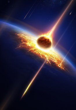 Earth in a meteor shower