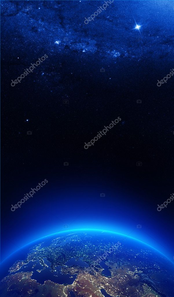 Earth at night with city lights