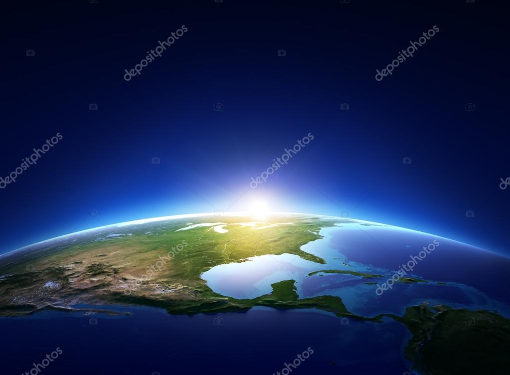 Earth sunrise over cloudless North America