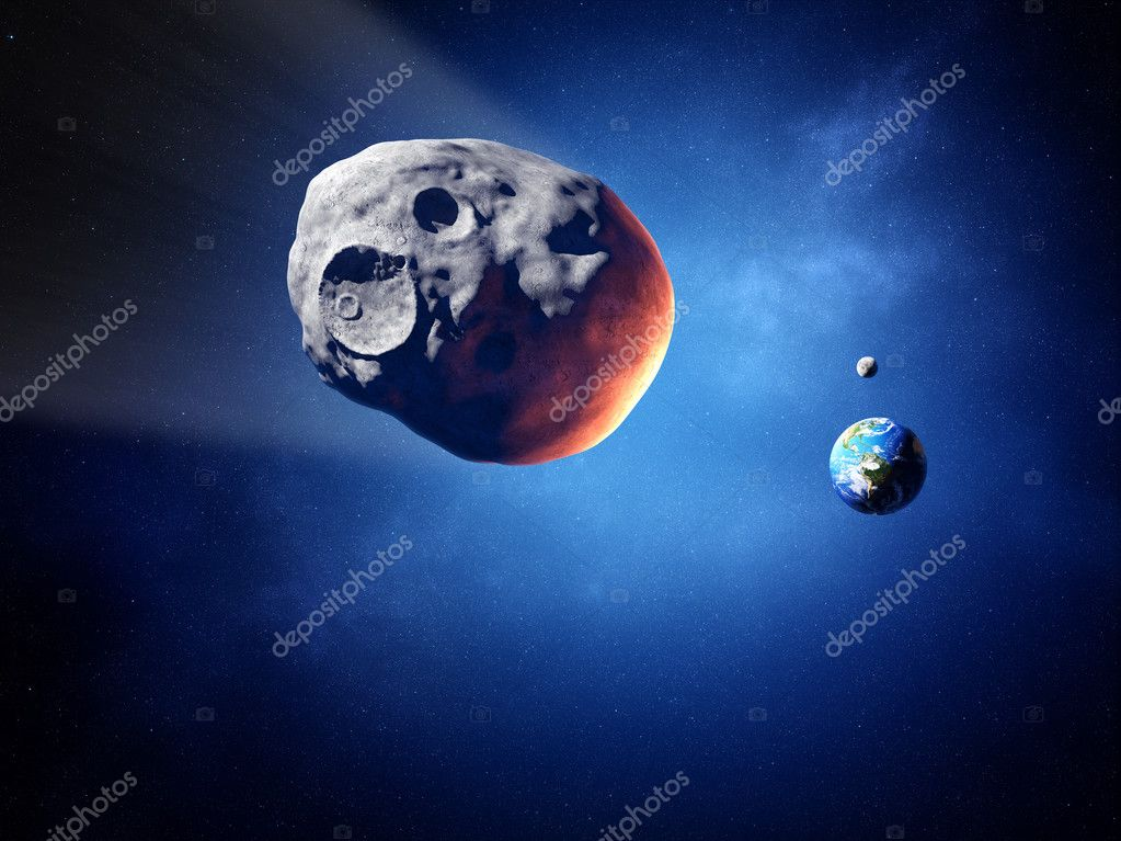 Asteroid on collision course with earth (Elements of this image