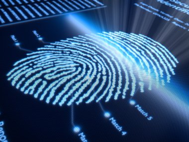 Fingerprint scanning technology on pixellated screen - 3d rendered with slight DOF stock vector