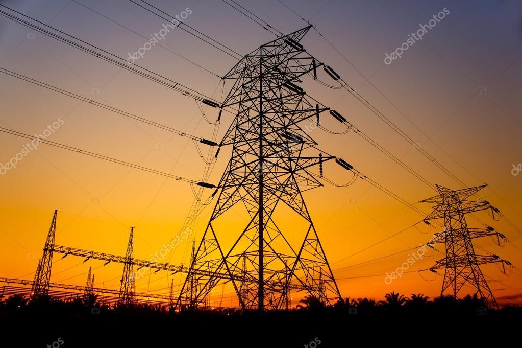 sunset against pylon tower