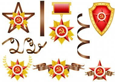 Vector set of military objects, related to 23 of February and Victory Day