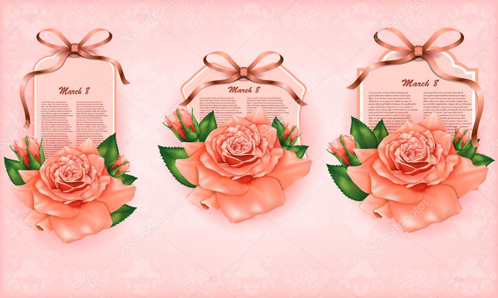 Set of beautiful gift cards with pastel roses and gift bows