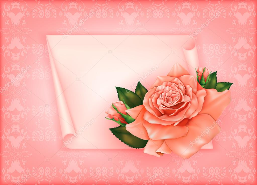 Beautiful gift card with pastel rose and gift bows, may be used as a Woman's Day congratulation