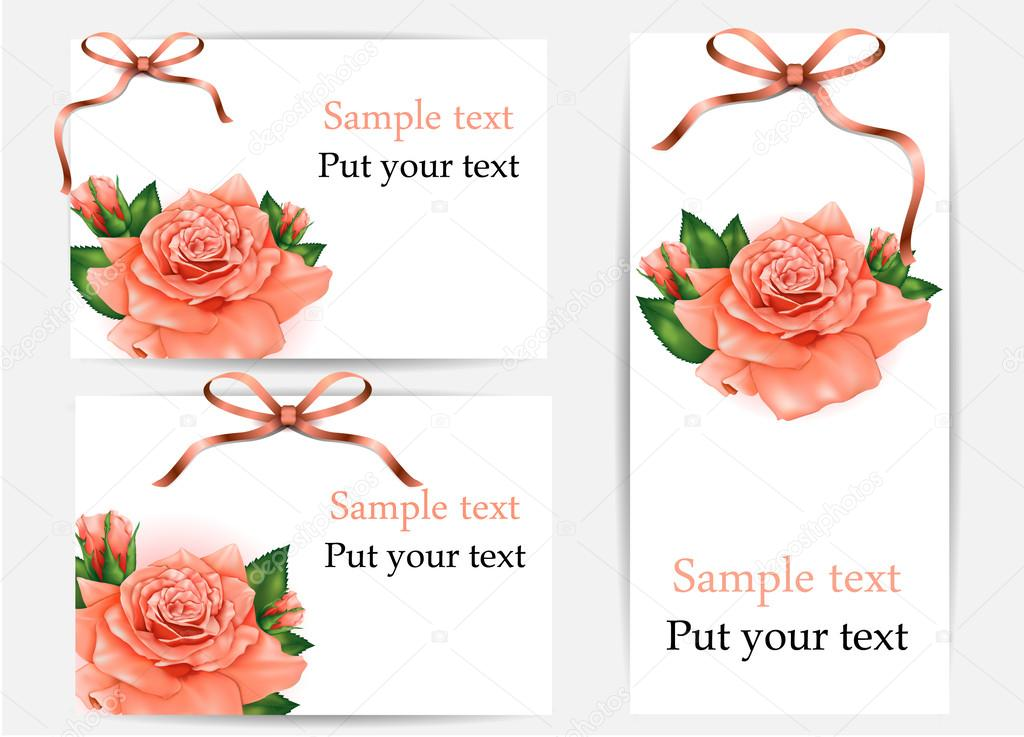 Set of beautiful gift cards with pastel roses and gift bows, may be used for Women's Day