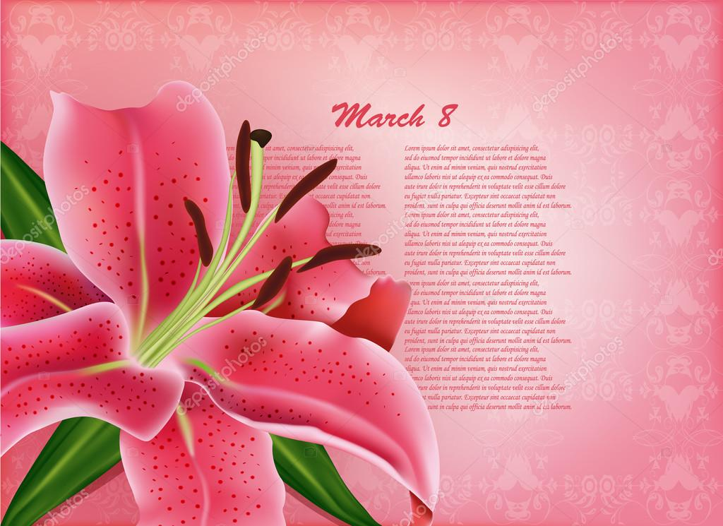 Beautiful gift card with pink lily , may be used as a Woman's Day congratulation