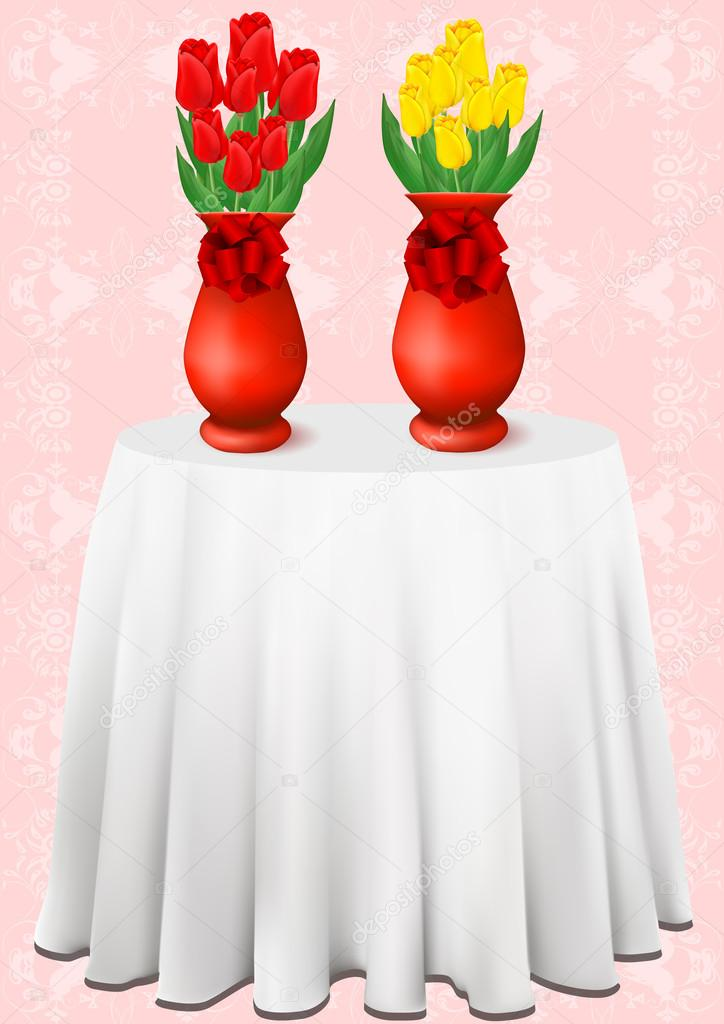 Vector beautiful bouquets of tulips in vases
