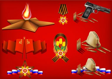 Vector set of military objects, related to 23 February and Victory Day